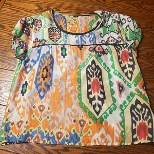 Johnny Was silk multi color blouse size small